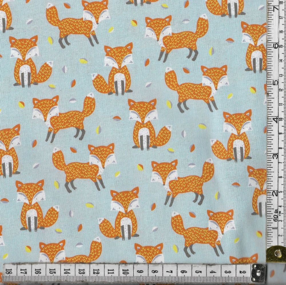 WOODLAND FRIENDS - FRIENDLY FOXES ON AQUA