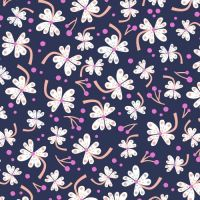 1483 LOST TREASURES WHITE FLOWER ON NAVY