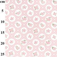 JOHN LOUDEN   TINY ROSES  WHITE/ PINK  -   price shown is per half metre