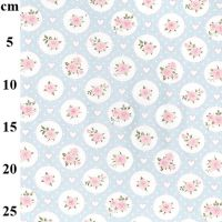 JOHN LOUDEN   TINY ROSES  WHITE/BLUE  -   price shown is per half metre