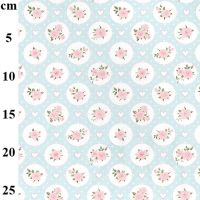 JOHN LOUDEN   TINY ROSES  WHITE/PALE TURQUOISE  GREEN   price shown is per half metre