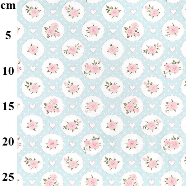 JOHN LOUDEN   TINY ROSES  WHITE/PALE GREEN   price shown is per half metre