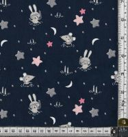 "EXTRA WIDE 60""  RABBITS AND MICE ON A NAVY BACKGROUND -   price shown is per half metre"