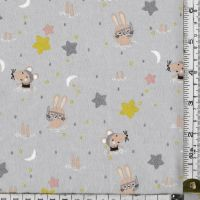 "EXTRA WIDE 60""  RABBITS AND MICE ON A GREY BACKGROUND -   price shown is per half metre"
