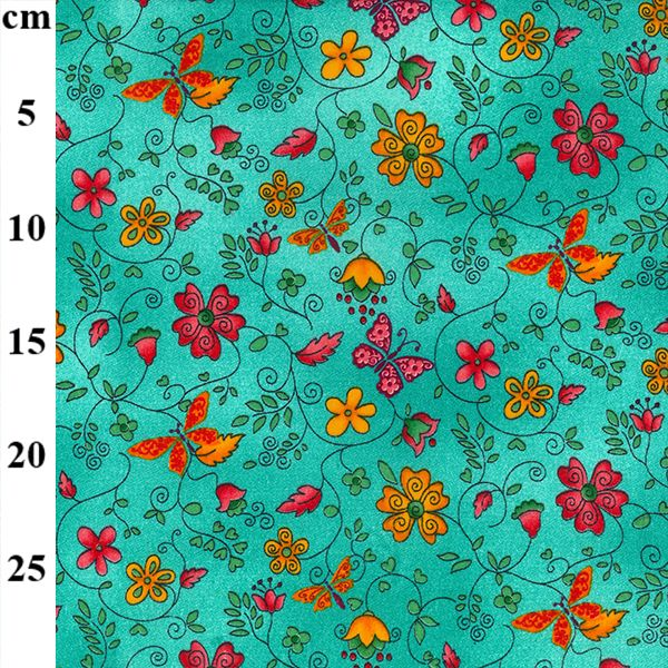 BUTTERFLIES AND FLOWERS    EXTRA WIDE ORGANIC COTTON  price shown is per half metre