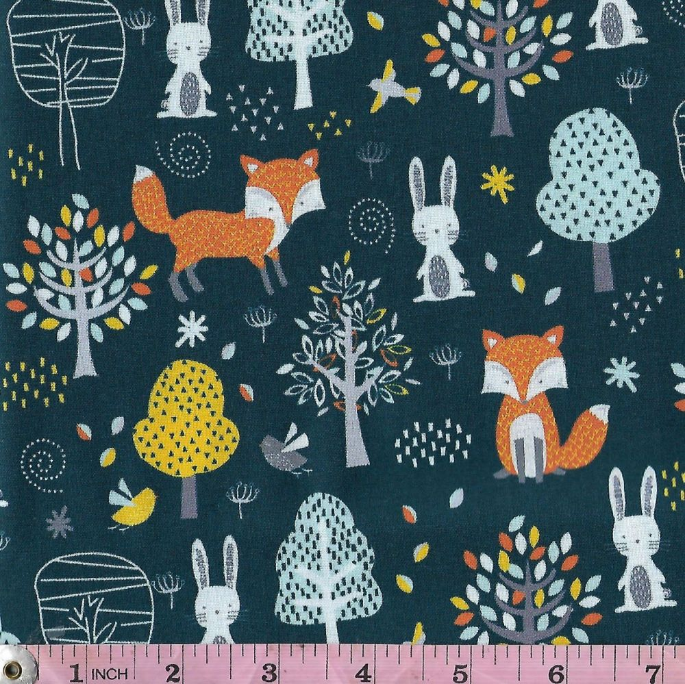 WOODLAND FRIENDS - FOREST ON BLUE