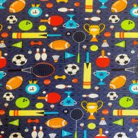 SPORTS DAY ON BLUE BACKGROUND Trophies, medal, balls, bats etc on blue background