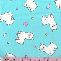 WHITE LLAMAS ON AQUA PRICE IS  PER HALF METRE