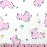 PINK LLAMAS ON WHITE  PRICE IS  PER HALF METRE