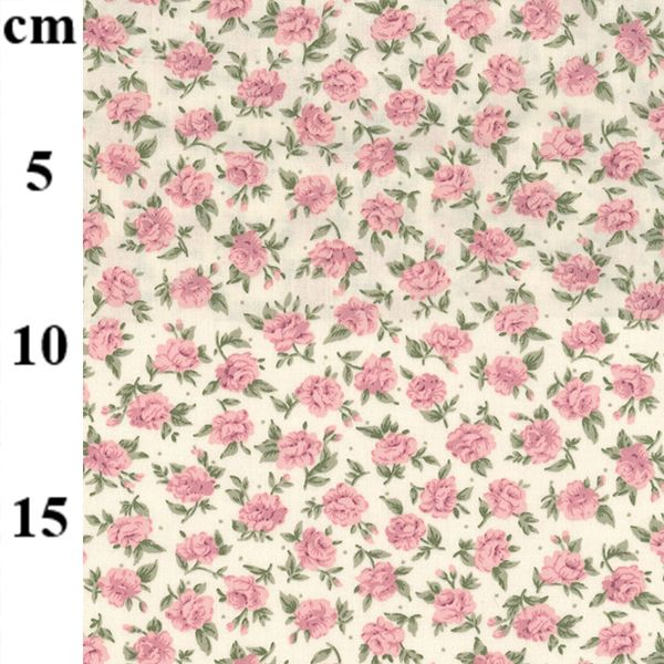 100% cotton poplin  Pink roses on ivory