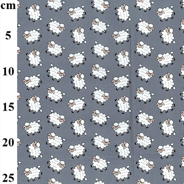 100% cotton poplin tiny all over pattern of cute white sheep on grey