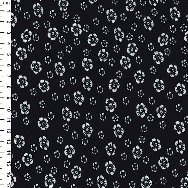 PRINTED PONTE ROMA  Ivory flowers and dots on black background