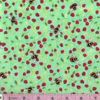 100% cotton poplin  Bees on Meadow Green