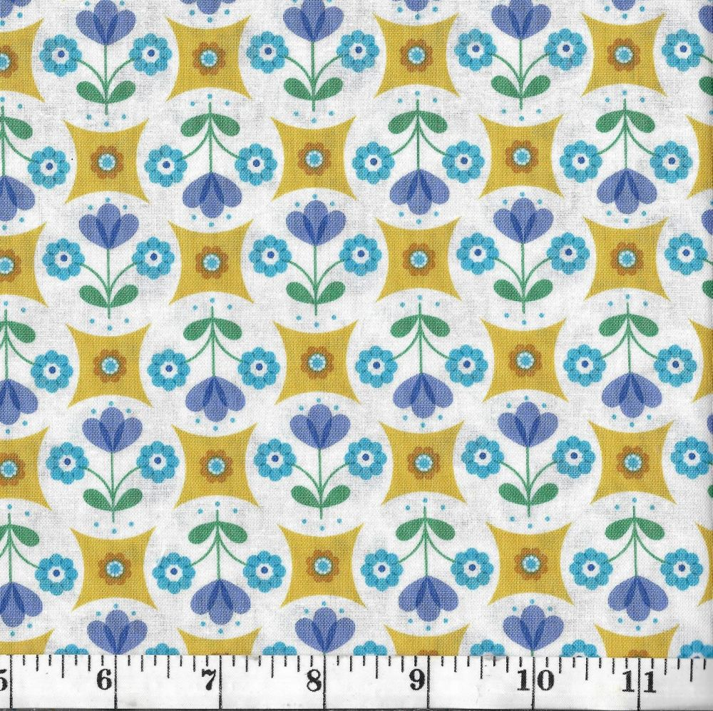 FAB FLORAL CIRCLES ON YELLOW