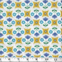 FAB FLORAL CIRCLES ON YELLOW A438 C1