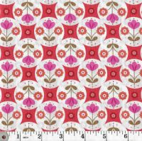 FAB FLORAL CIRCLES ON RED A438 C2