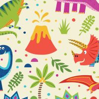 DINOSAUR LAND - MULTICOLOURED DINOSAURS ON CREAM  BACKGROUND