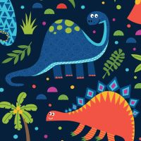 DINOSAUR LAND - MULTICOLOURED DINOSAURS ON BLUE BACKGROUND