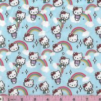 Hello Kitty  and rainbows Extra wide All over pattern of Hello Kitty and rainbows  for dressmaking, patchwork and crafts.