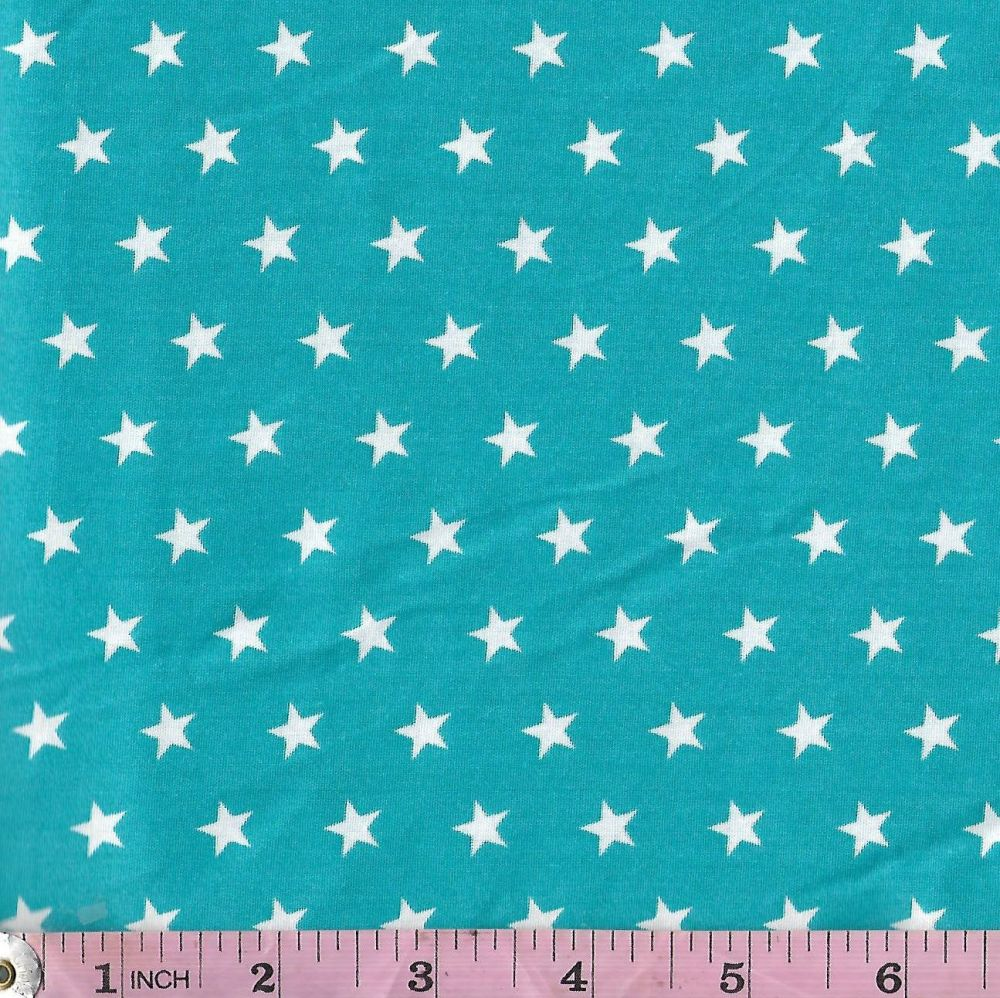 White stars on turquoise  Extra wide 57""