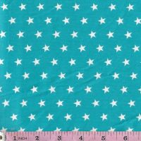 """White stars on turquoise  Extra wide 57"""" Quarter inch white stars on turquoise  background  for dressmaking, patchwork and crafts."""