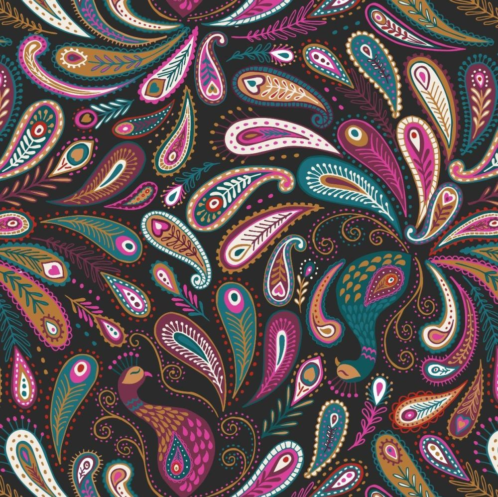 A489.3 Paisley peacock on black