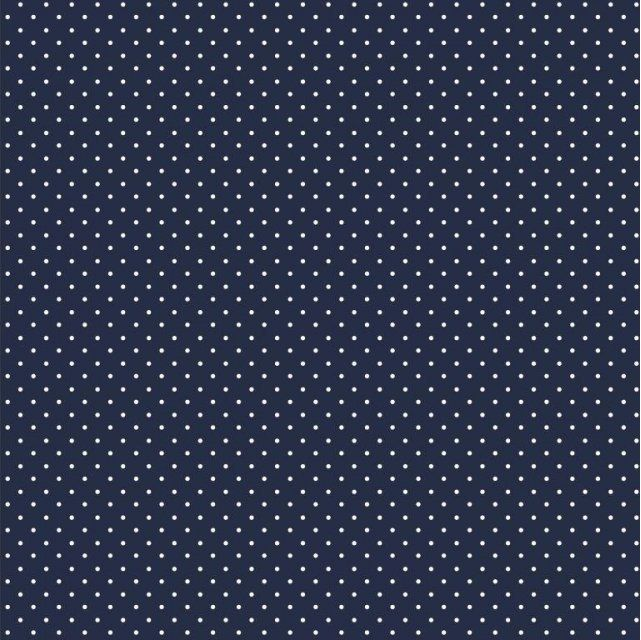 White microdots  on navy blue Extra wide 57""