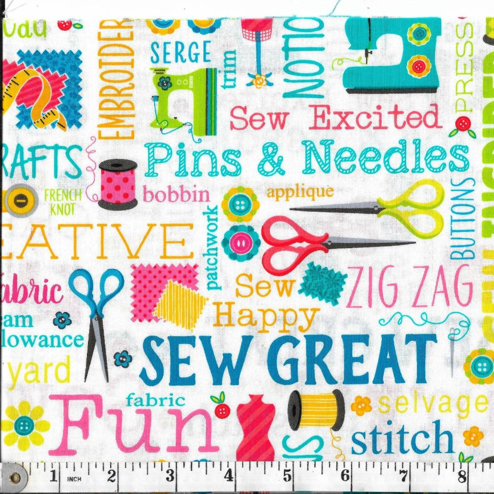SEW EXCITED SEWING  WORDY WHITE - BENARTEX FABRICS