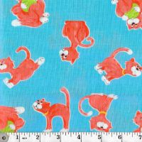 PURRL THE CAT ON  BLUE - THE WORLD OF SUSYBEE FABRICS