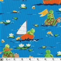 SAILING FROGS AND TURTLES ON BLUE - THE WORLD OF SUSYBEE FABRICS