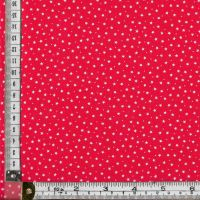 100% premium  cotton poplin  mini white stars on scarlet. Fabric suitable for dressmaking, patchwork and crafts.
