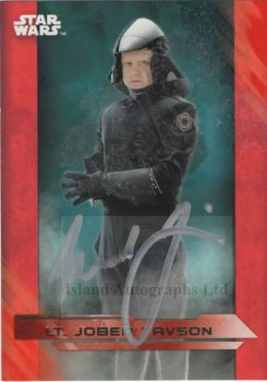 Michael Jibson as Lt. Jober Tavson in Star Wars The Last Jedi Autographed trading card (red)