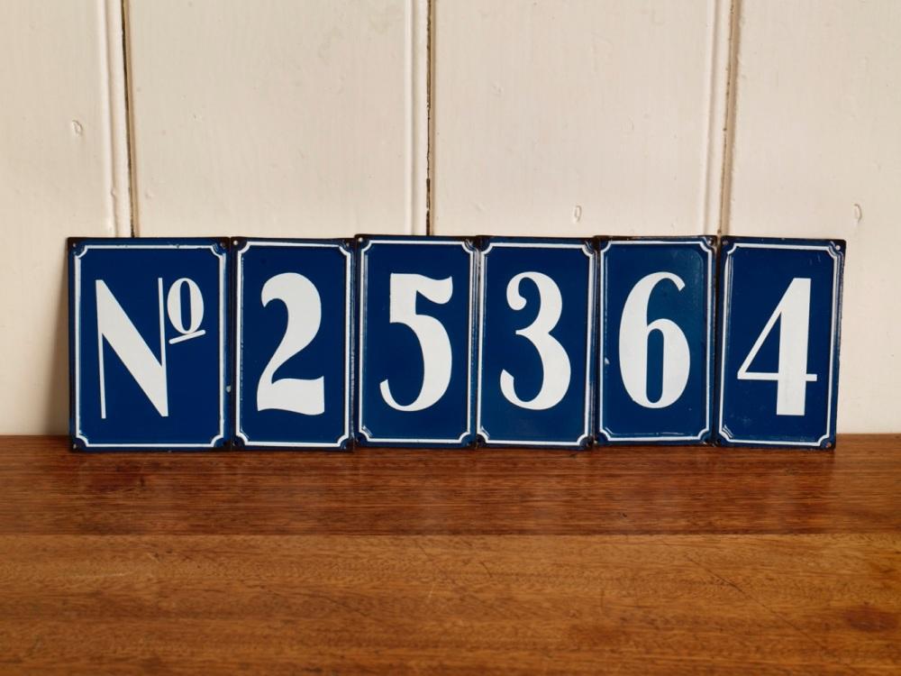Retro tin house numbers