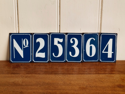 Retro tin house numbers