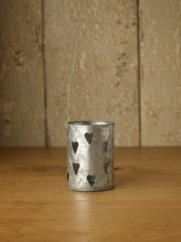 Zinc Heart Hanging Candle Holder