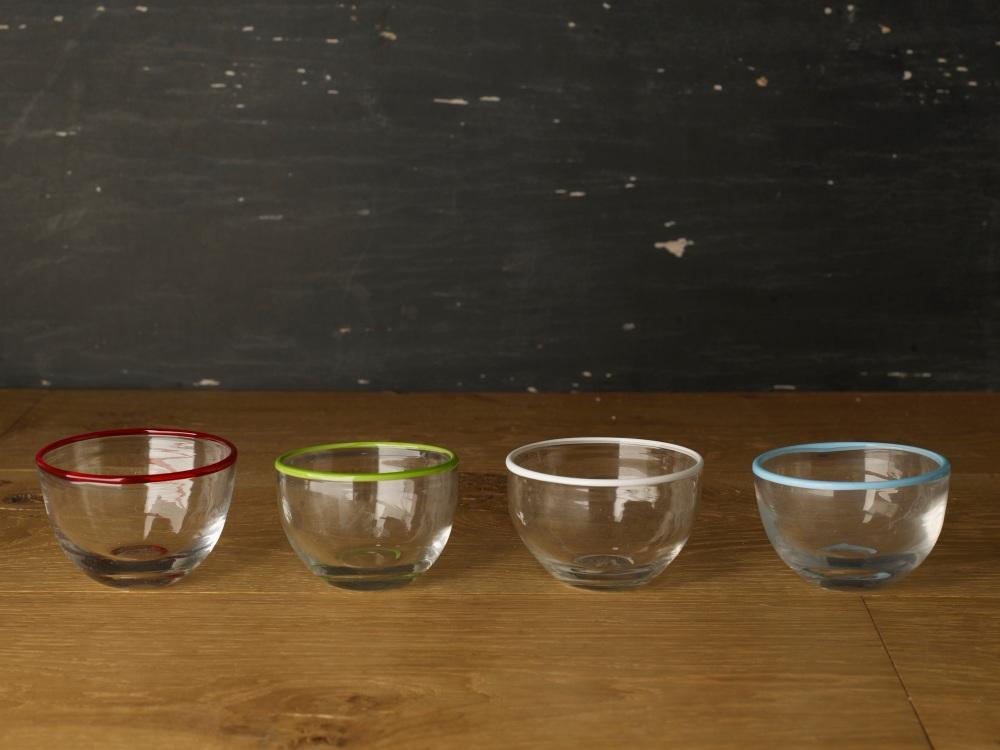 Glass Coloured Rim Bowl
