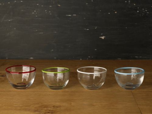 Glass Coloured Rim Bowl