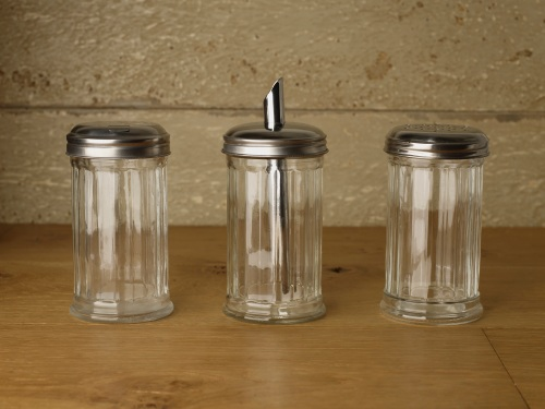 Selection of different kind of glass sugar pourers