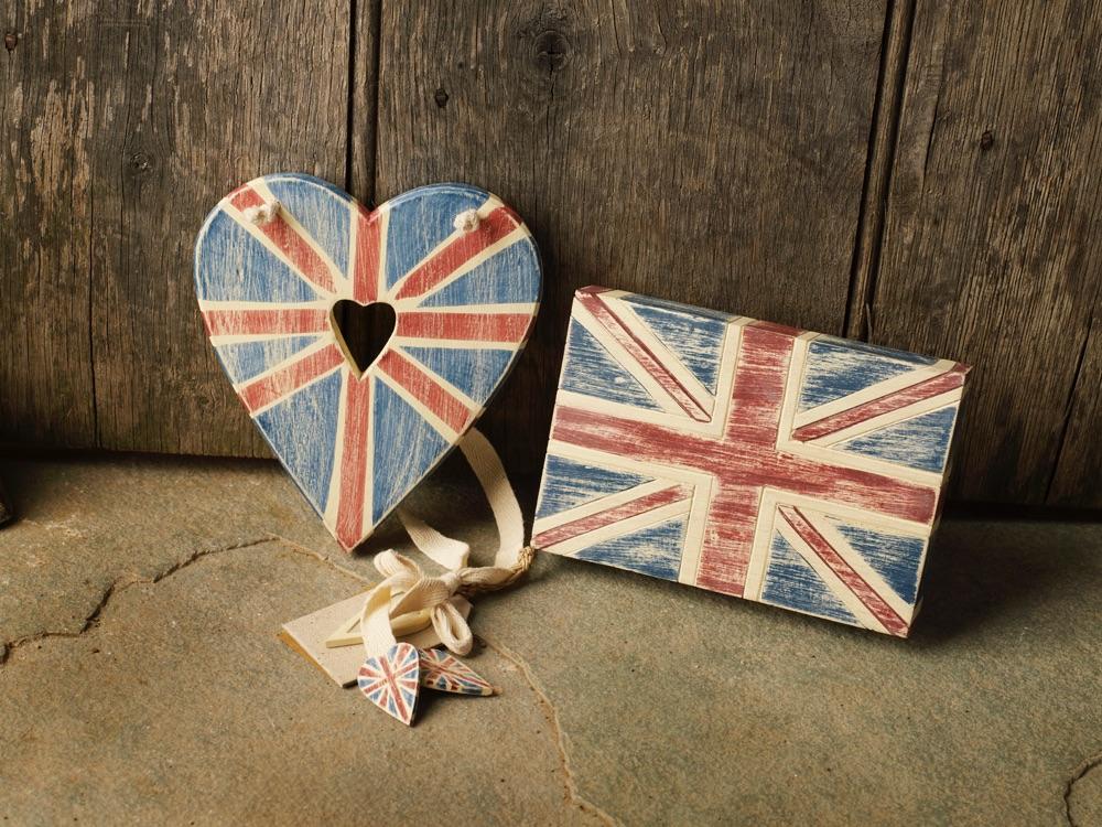 Wooden Union Jack Heart or Block