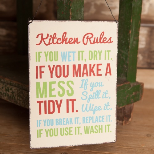 Vintage Kitchen Rules sign