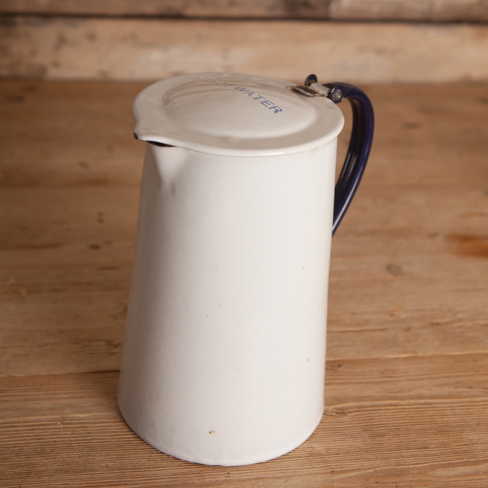 Reclaimed Enamel jug with  Hot Water lettering on lid