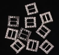 Rhinestone ribbon slider square buckles 15mm