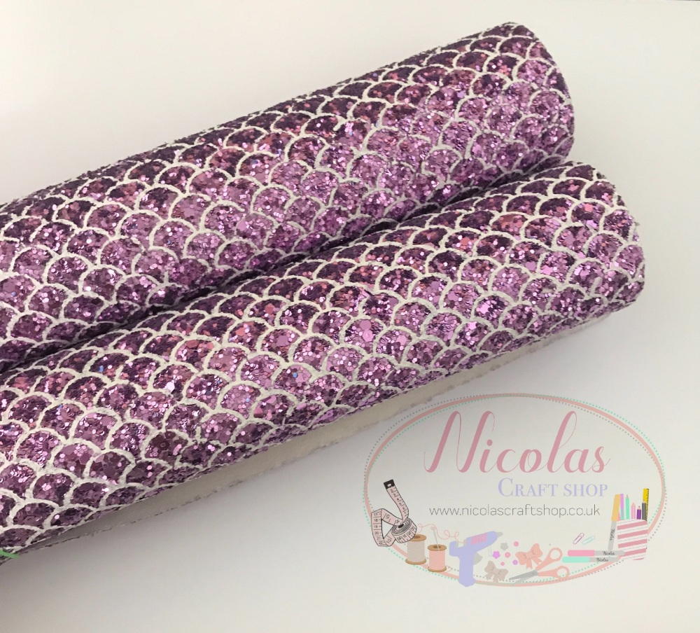 Lilac Fish tail scales chunky glitter a4