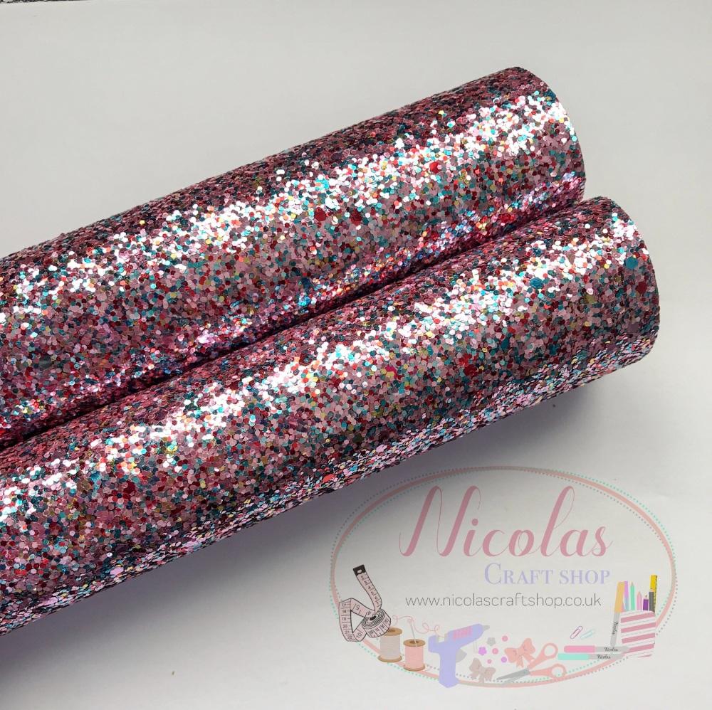 Pink mixed chunky glitter a4
