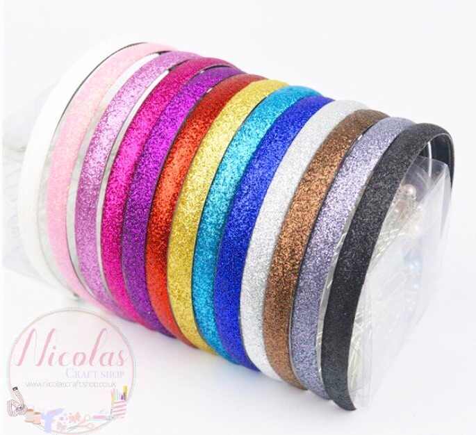 1.4cm glitter hairbands with grippers