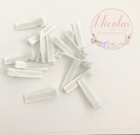White Pre lined 45mm alligator clips (pack of 10 -