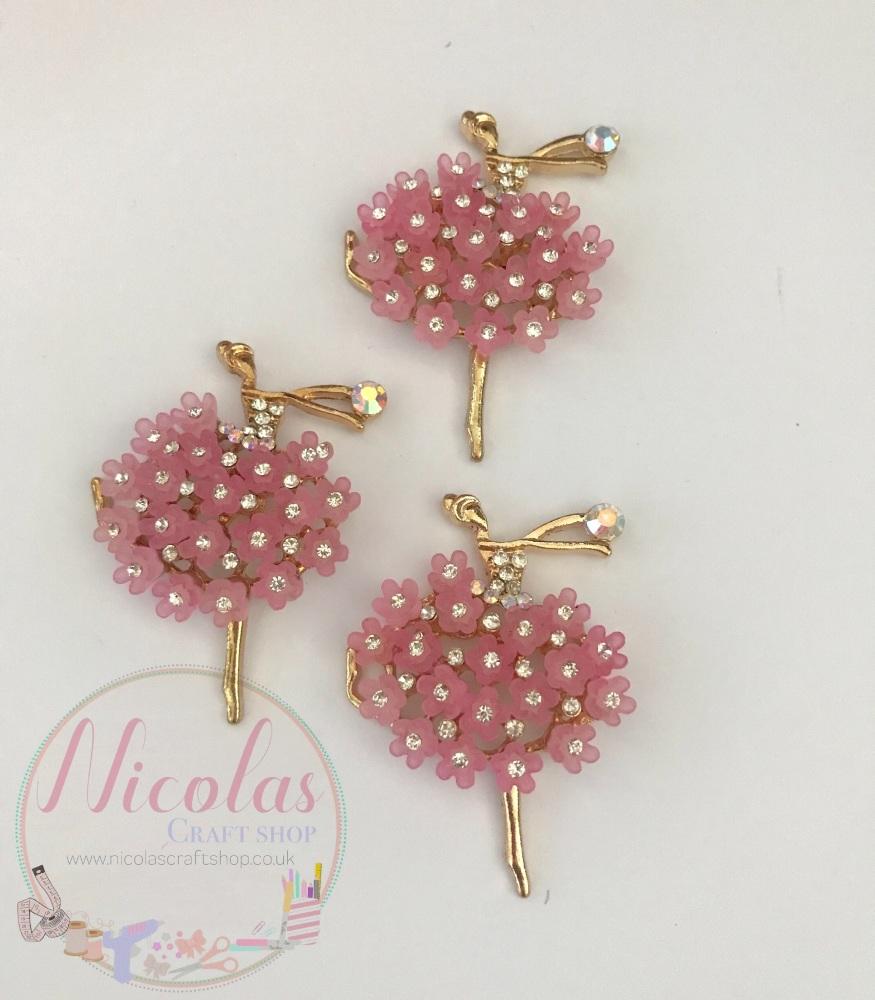 Beautiful Bling Pink ballerina embellishment
