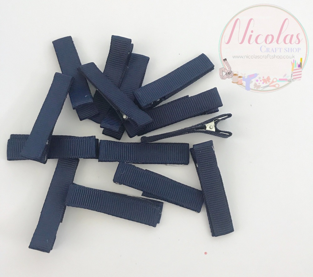 Navy Pre lined 45mm alligator clips (pack of 10)