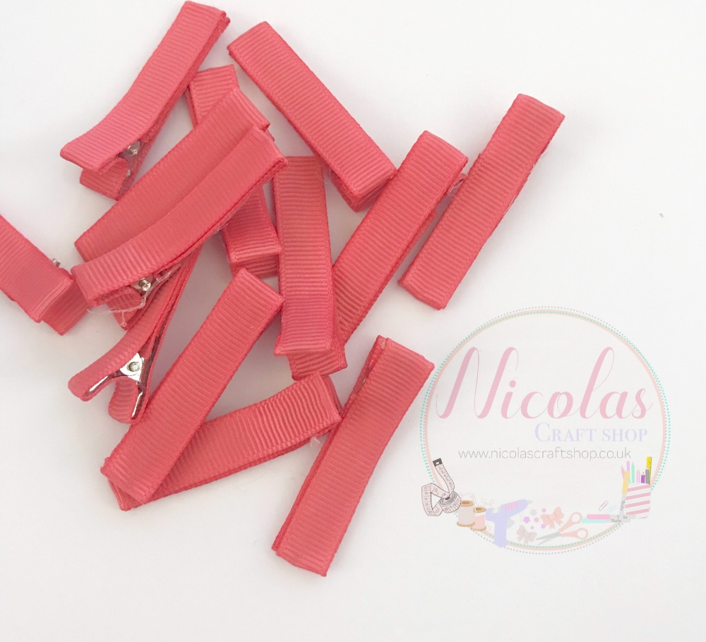 Rose Pink  Pre lined 45mm alligator clips (pack of 10)