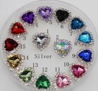 1.6cm heart crystal bling flatback gem rhinestone